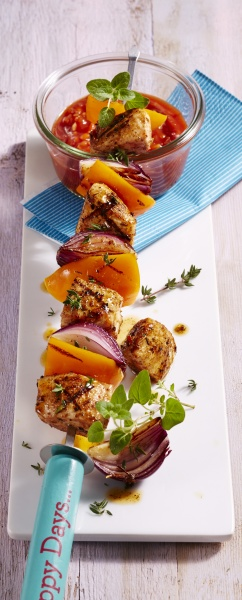 grilled chicken and vegetable skewer with