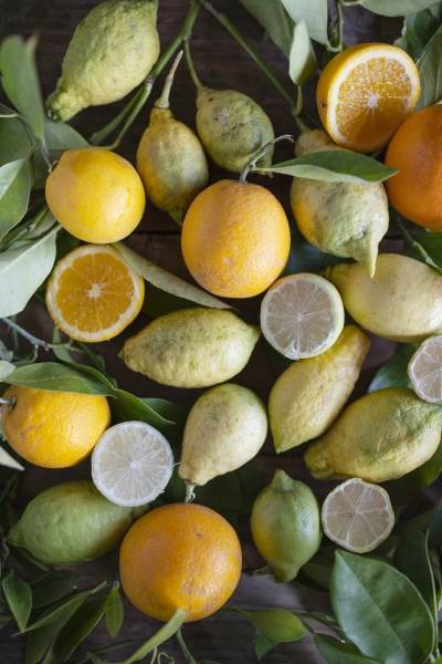 various, organic, citrus, fruit, with, leaves - 29886430
