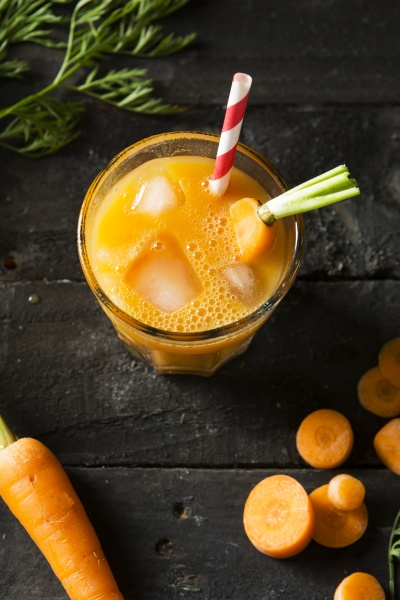fresh carrot smoothy juice in a