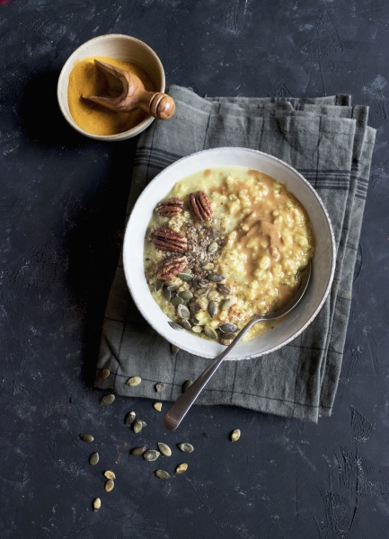 delicious oatmeal porridge with turmeric and