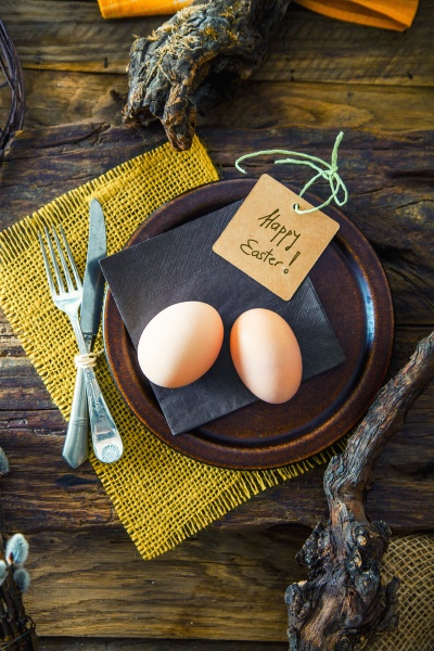 a rustic easter table setting with