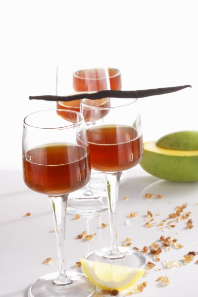 homemade mango liqueur with vanilla and