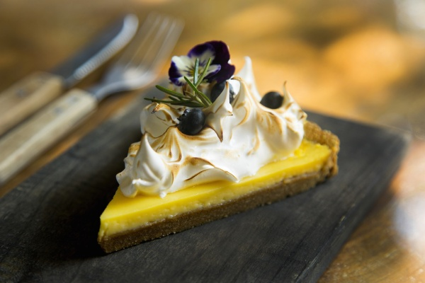 lemon pie with blueberries and meringue