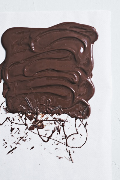 liquid chocolate spread and blobbed on