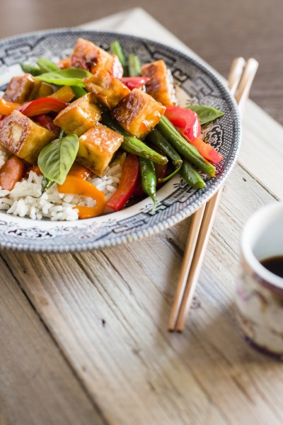 spicy tofu with green beans peppers
