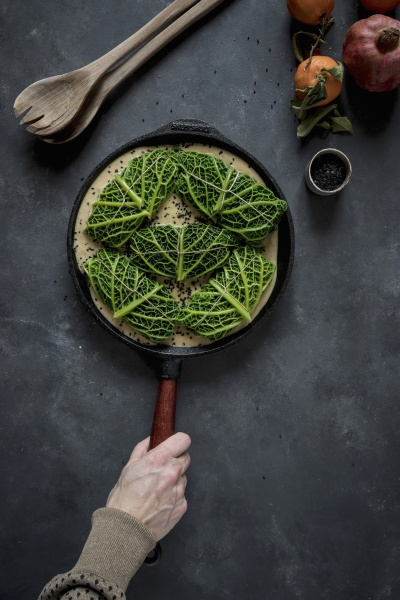 cabbage leaves stuffed with rice in