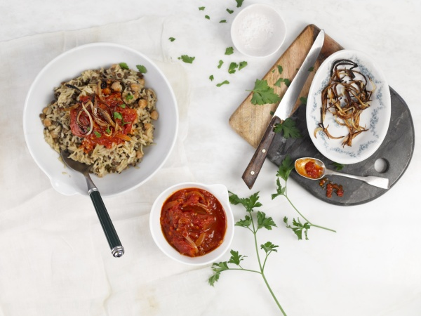 koshari rice with lentils and