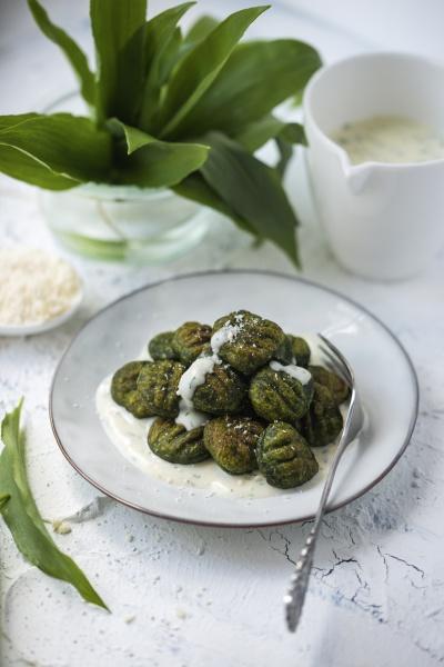 vegan wild garlic gnocchi with herb