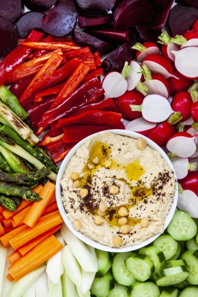 hummus with various vegetables