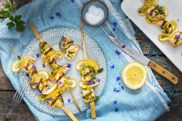 salmon and lemon kebabs with mustard