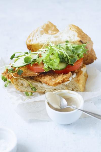 sandwich with fried chicken on chiabatta