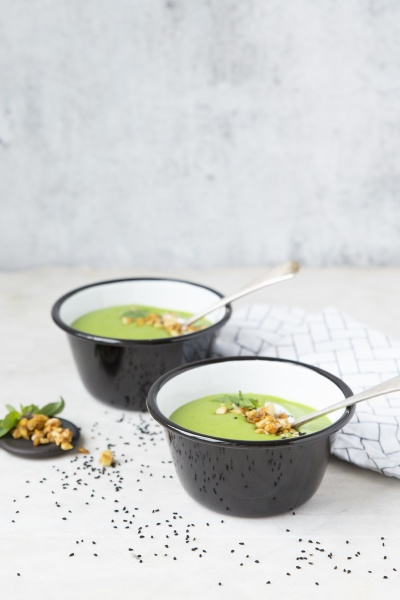 pea soup with nut topping sesame