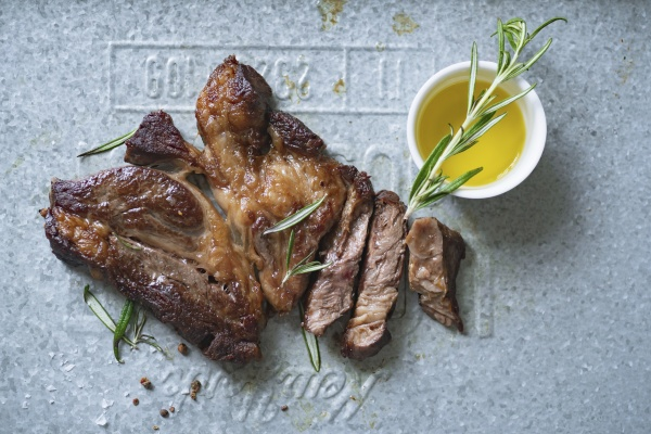 black angus steak with rosemary and