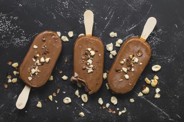 milk chocolate popsicles with hazelnuts
