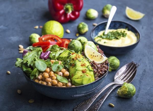 buddha bowl with chickpea avocado quinoa