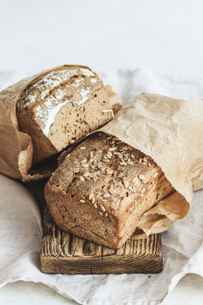 two loaves of rye bread in