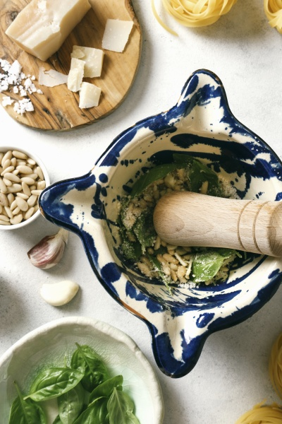 pestle and mortar with ingredients for