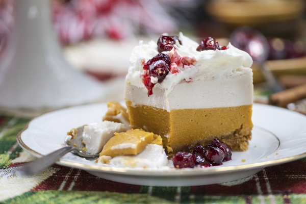 christmas pumpkin and cranberry mousse cake