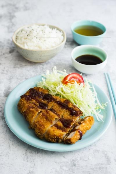 tonka katsu with salad and rice