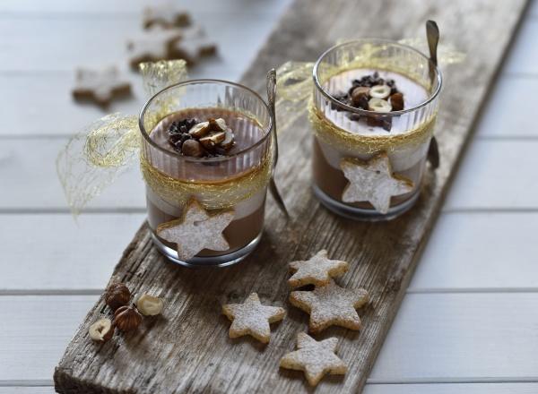 christmas cheesecake desserts with chocolate hazelnut