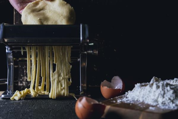 homemade fettuccine with pasta machine