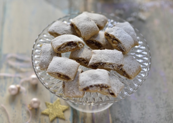 vegan stollen confectionary on a glass