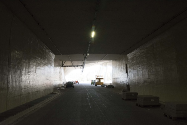 road tunnel construction on a highway