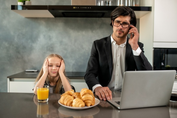 unhappy daughter annoyed due to father