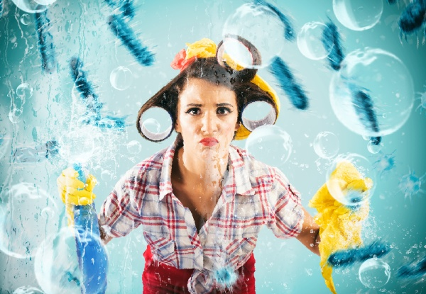 funny housewife cleans and disinfects to