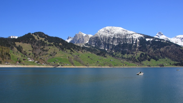 spring scene in schwyz canton lake