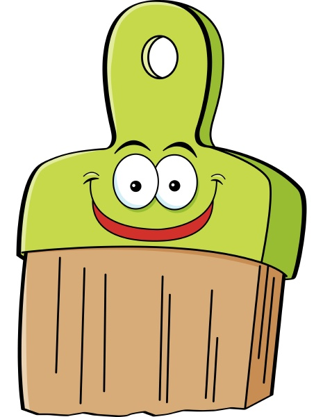 cartoon illustration of a smiling paint