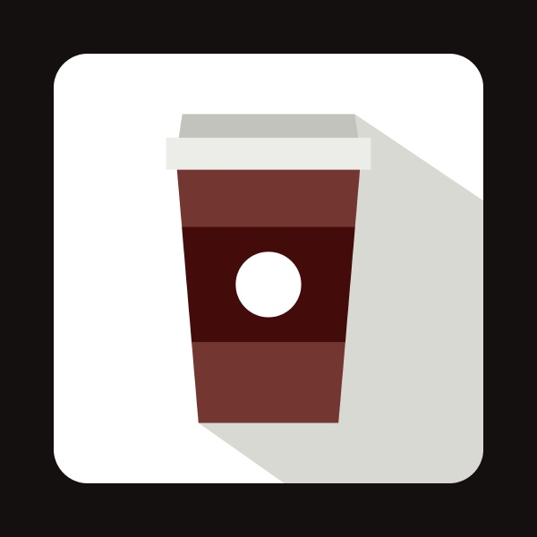 paper cup of coffee icon flat