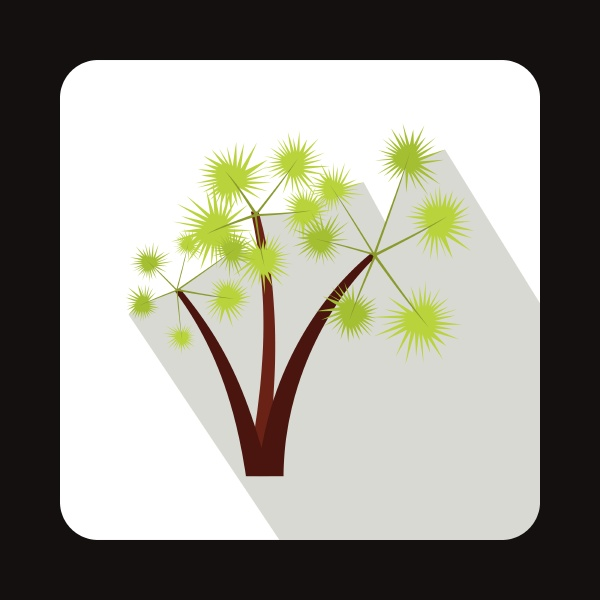 three palm trees icon in flat