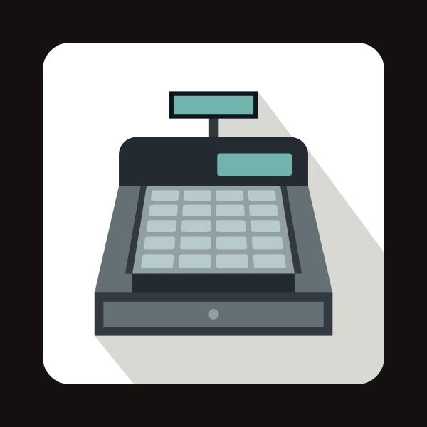 cash register icon flat style