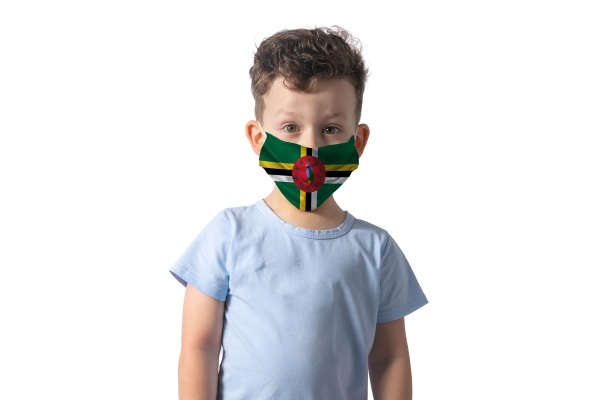 respirator with flag of dominica white