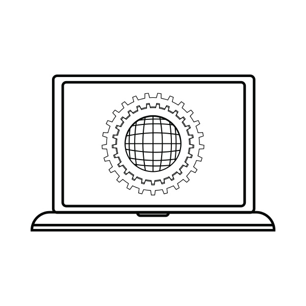 laptop settings icon outline style