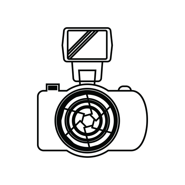 photo camera with flash icon outline