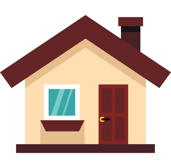 white cottage icon in flat style