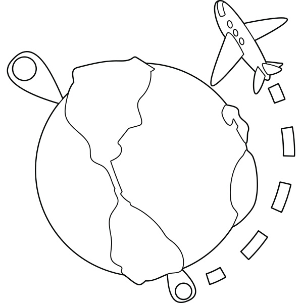 flights around the world icon outline