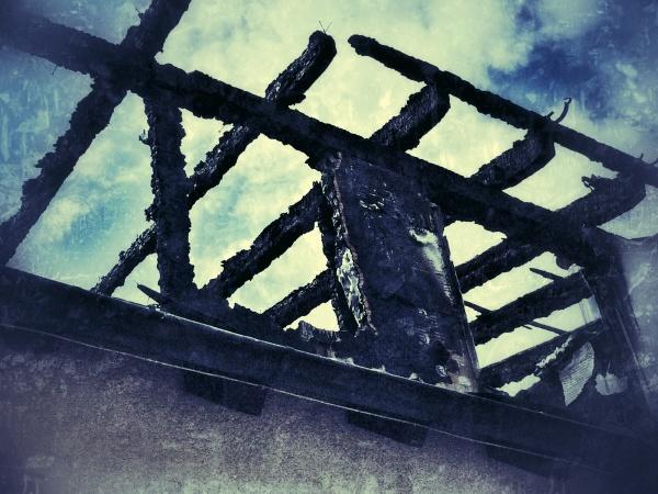house burn in vintage style