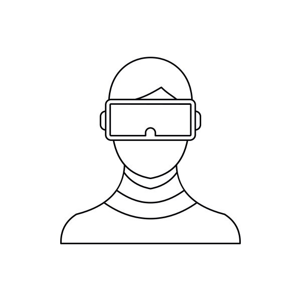 virtual reality glasses icon outline style