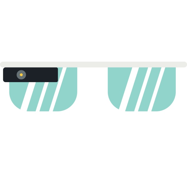 smart glasses icon flat style