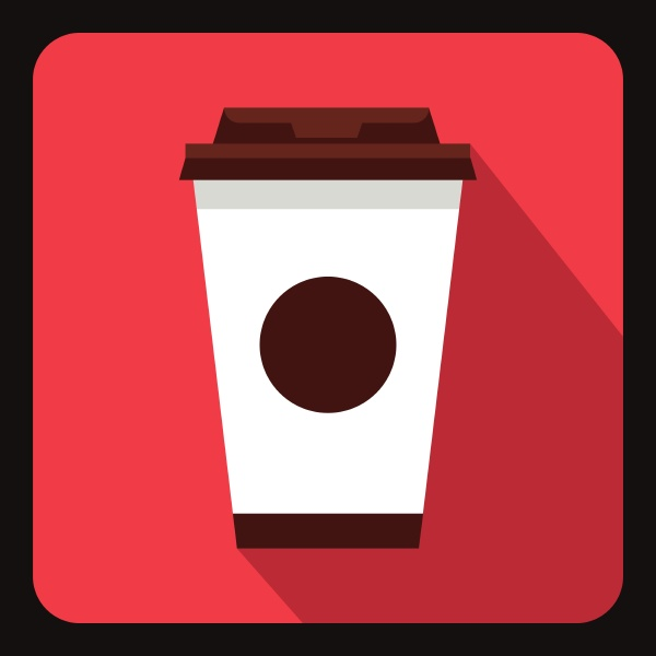 paper coffee cup icon flat style