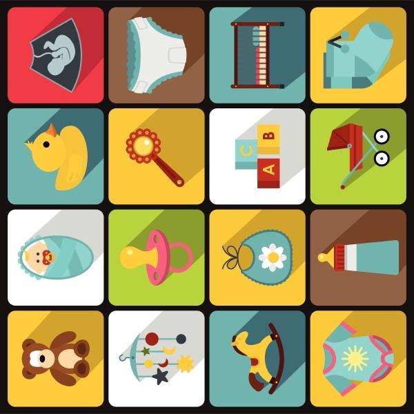 newborn icons set flat style
