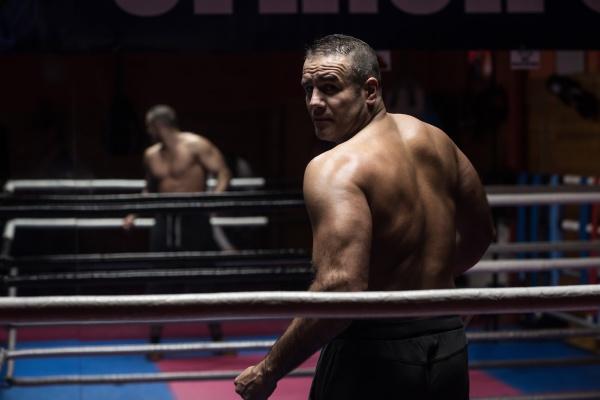 muscular professional kickboxer