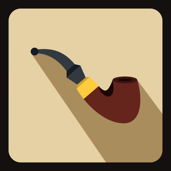 wooden pipe icon flat style