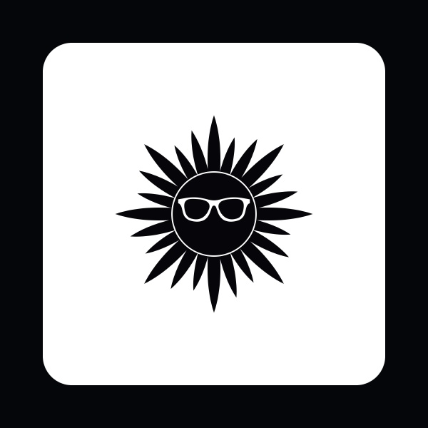 sun face with sunglasses icon simple