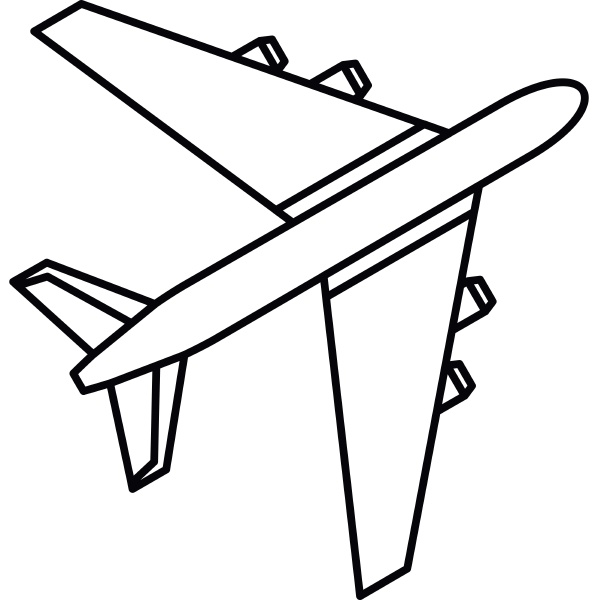passenger airliner icon outline style