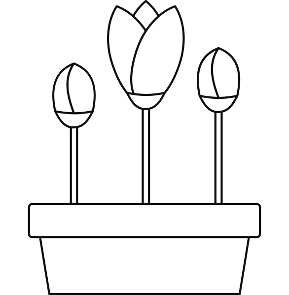 tulips in planter icon outline style