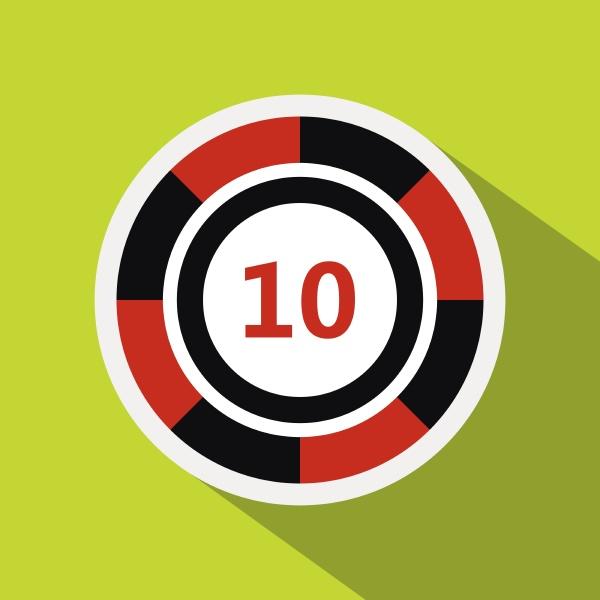 casino chip icon flat style